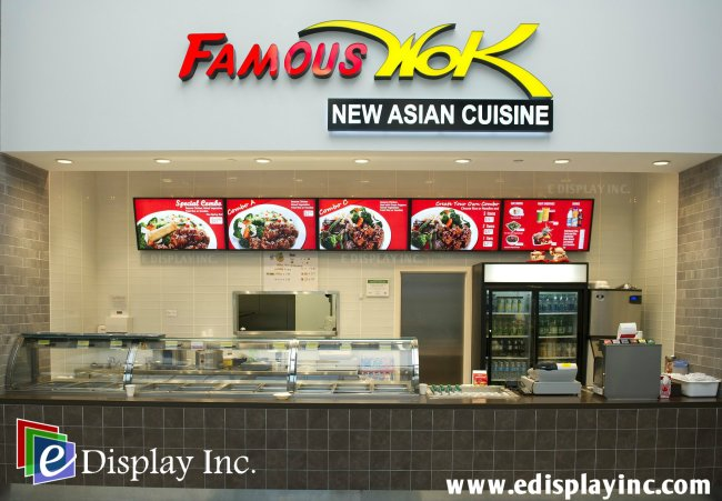 E Display Digital Menu Boards for Famous Wok