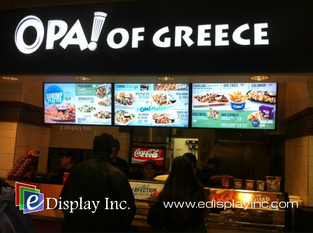 E Display Digital Menu Boards at Opa! Oakridge Centre in Vancouver