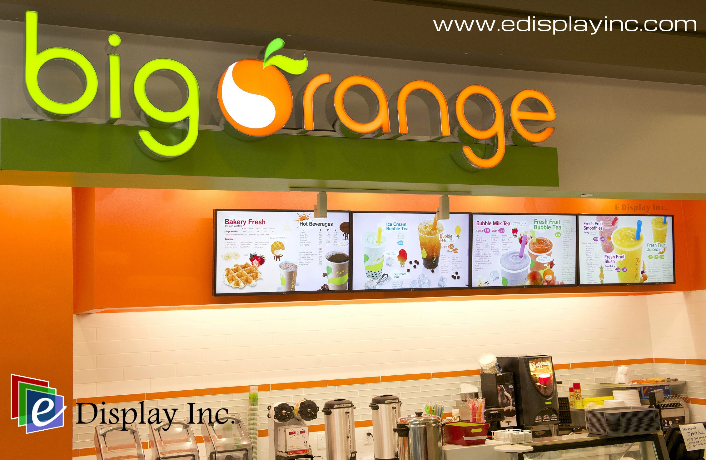 E Display Digital Menu Boards for Big Orange.