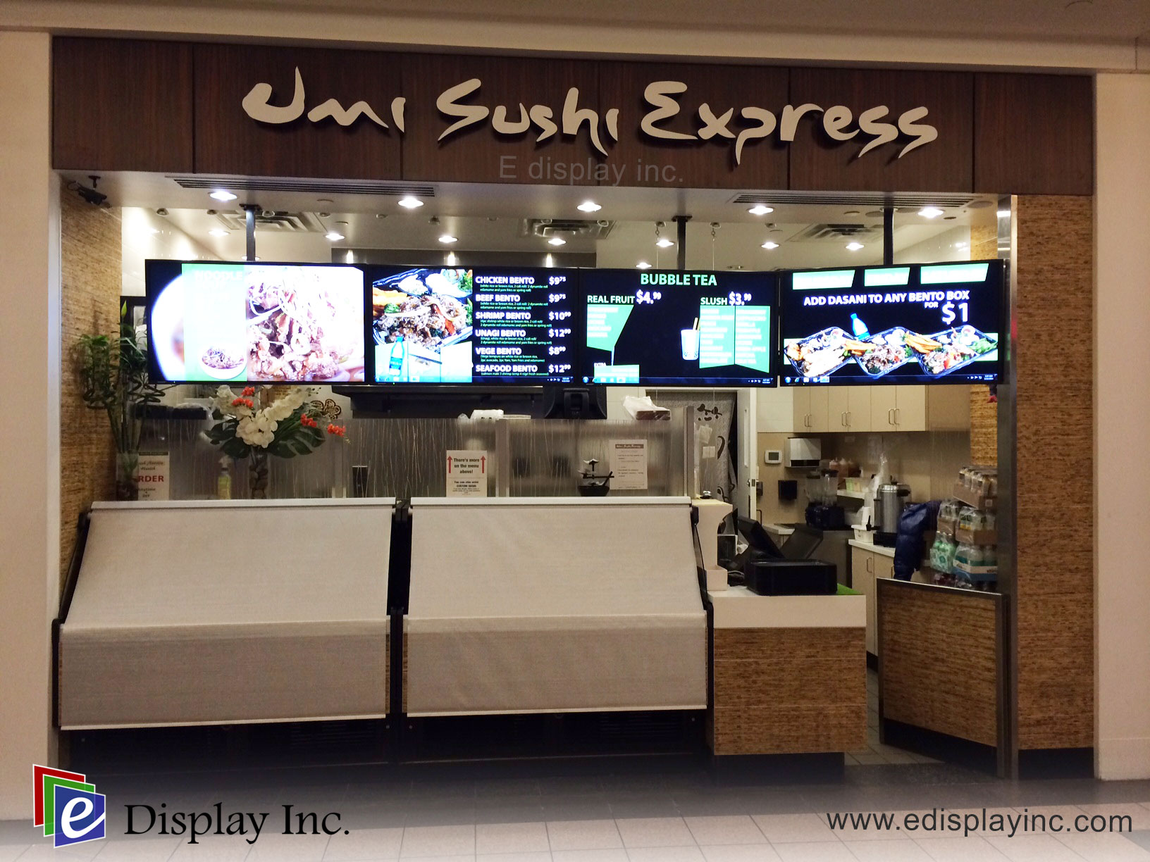 E Display Deploys Digital Menu Boards at Umi Sushi Express in Park Place Mall in Lethbridge Alberta.
