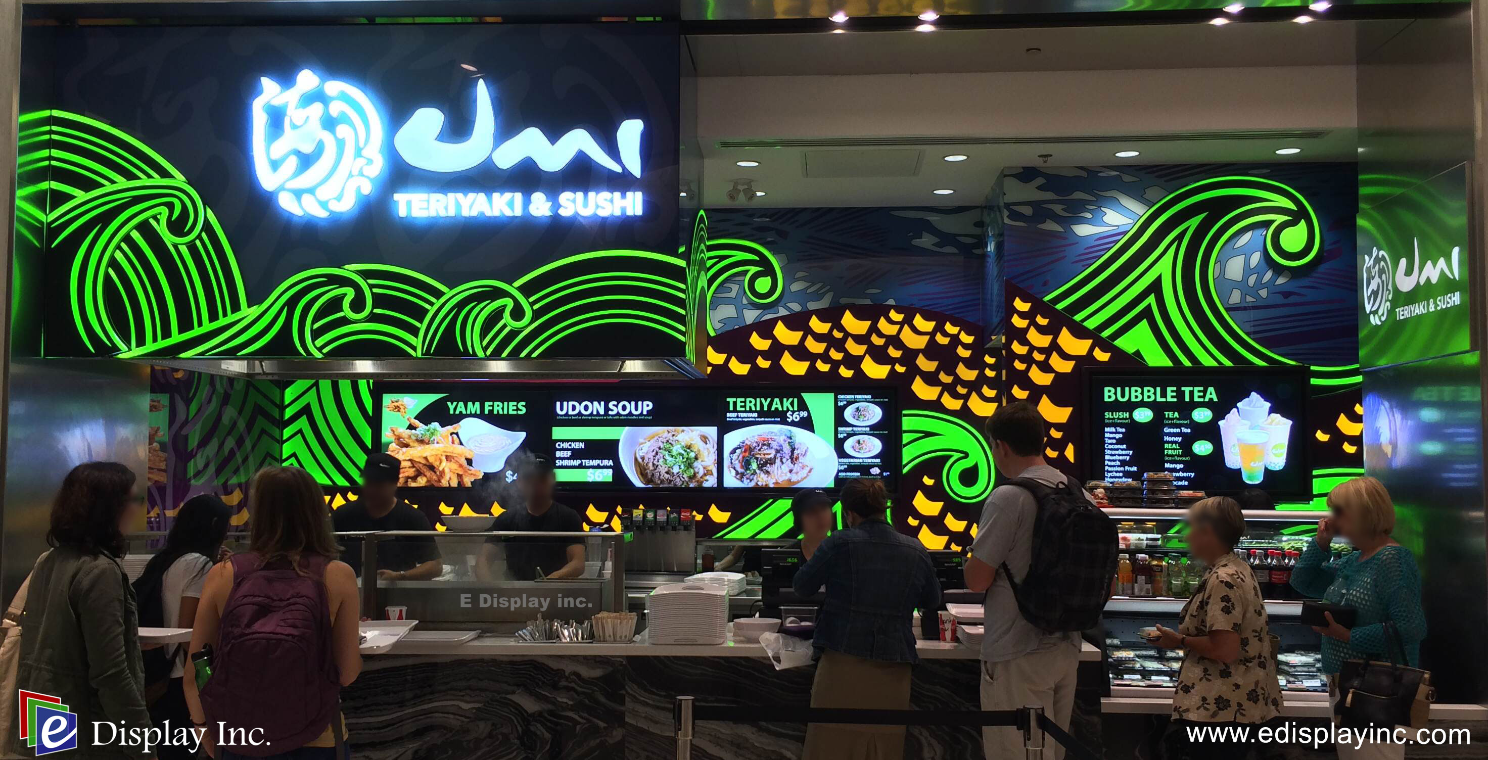 E Display Deploys Digital Menu Boards at Umi Teriyaki Sushi, Rideau Centre in Ottawa, Ontario.