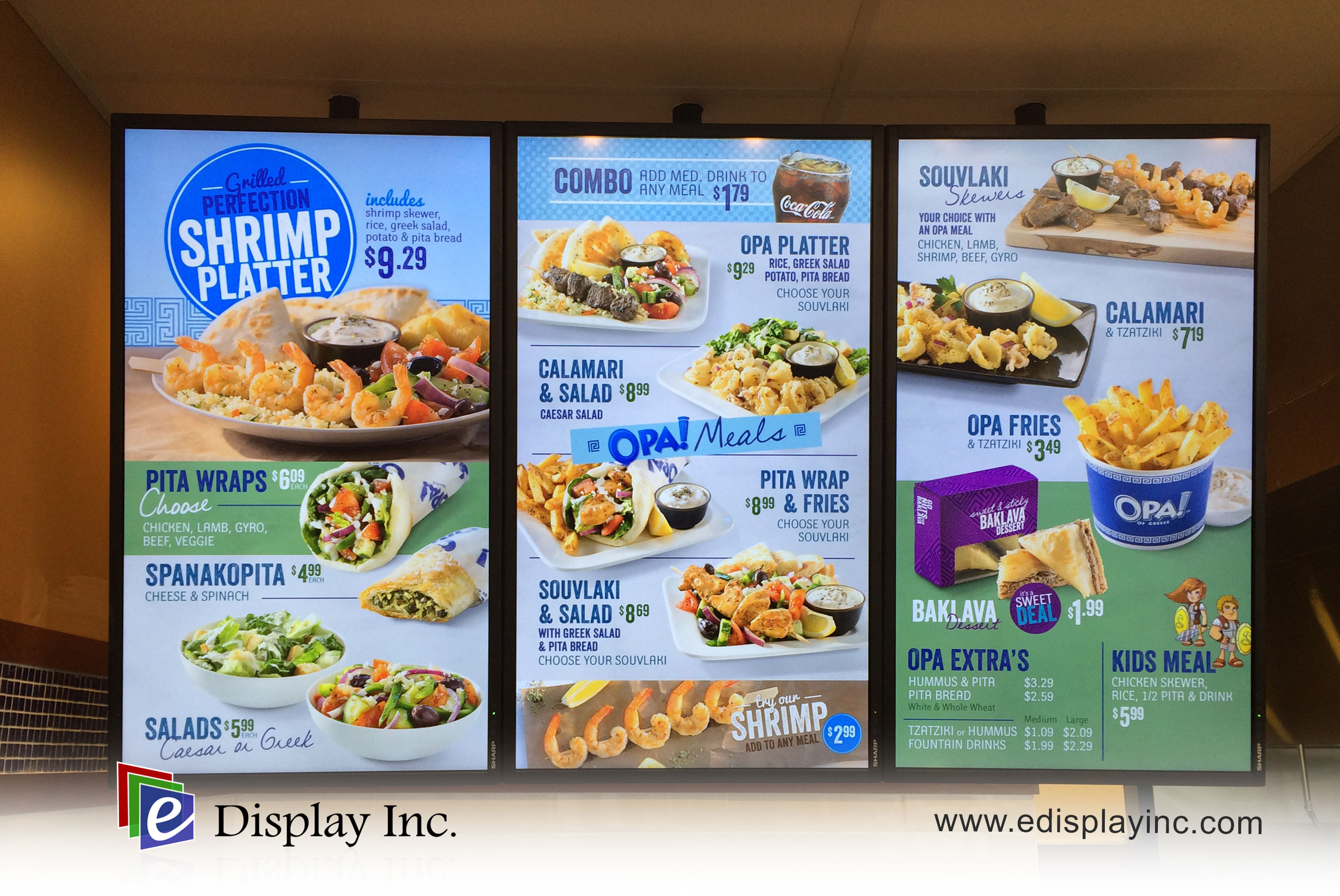E Display Digital Menu Board at OPA! Century Crossing in Spruce Grove, Alberta